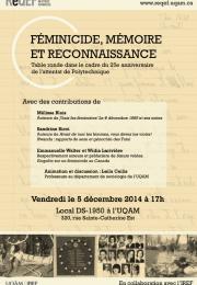 Table ronde – Féminicide, mémoire et reconnaissance, 5 décembre 2014