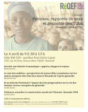 Colloque « Femmes, rapports de sexe et génocide des Tutsi (Rwanda 1994-2014) », 4 avril 2014